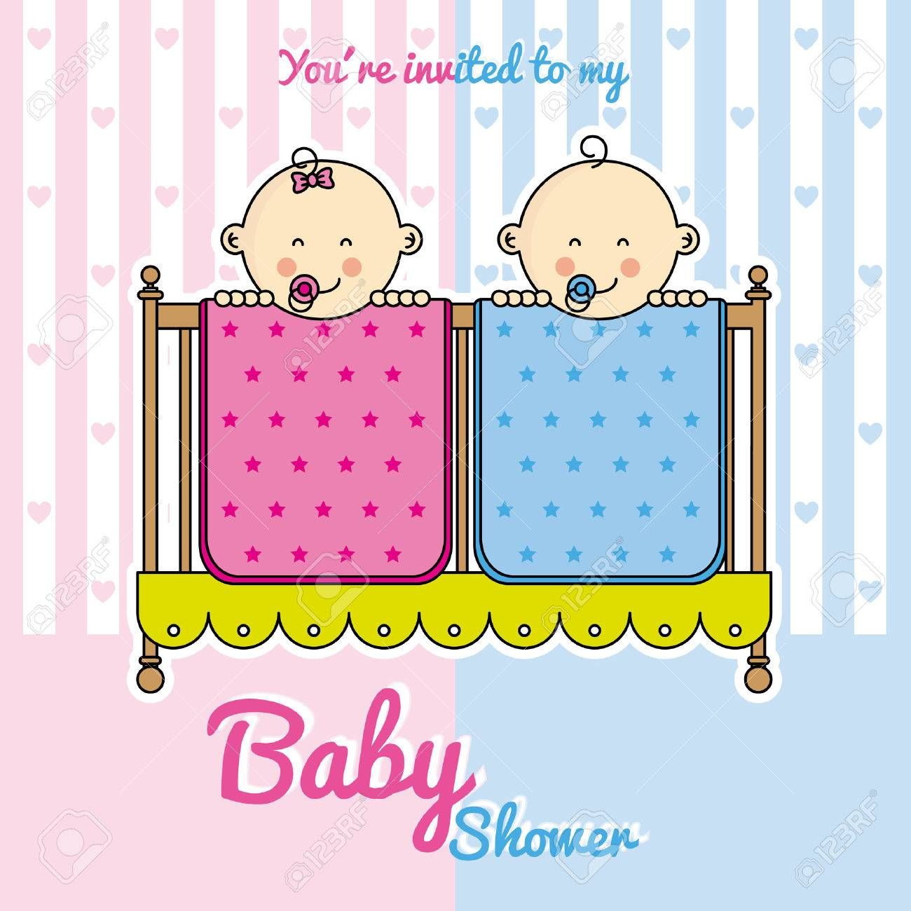 Twins baby shower. babies in the cradle. Stock Vector - 47617319