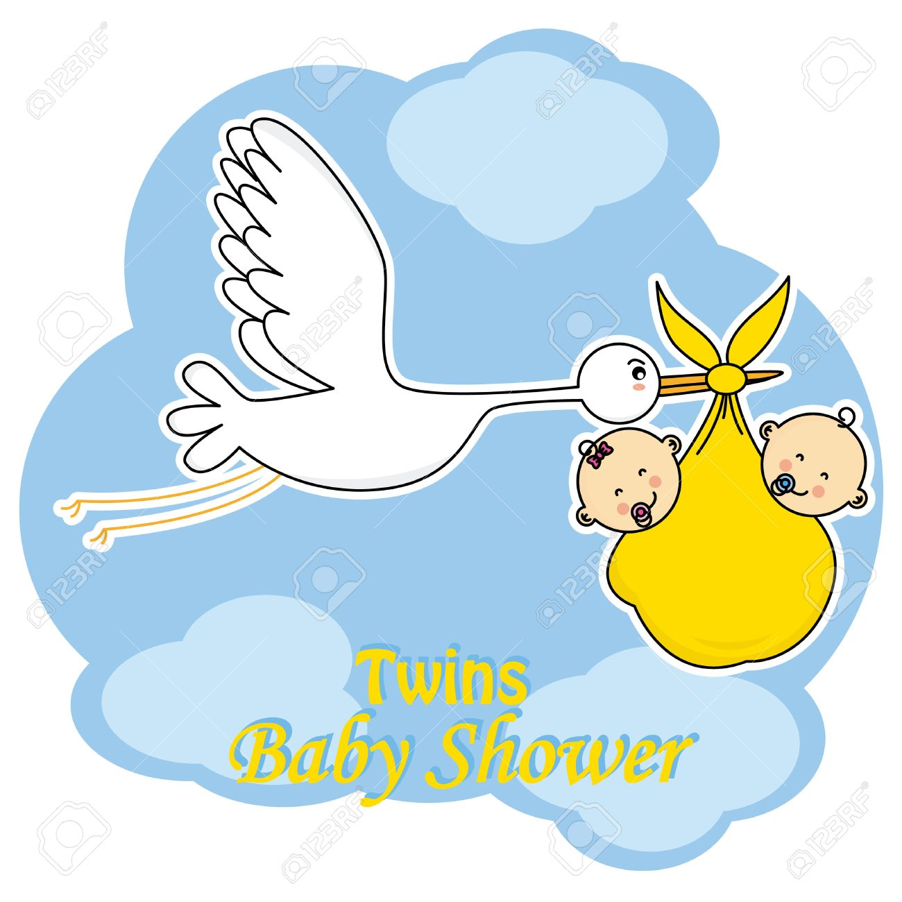 Twins Baby Shower. Stork With Twins Stock Vector   47936862