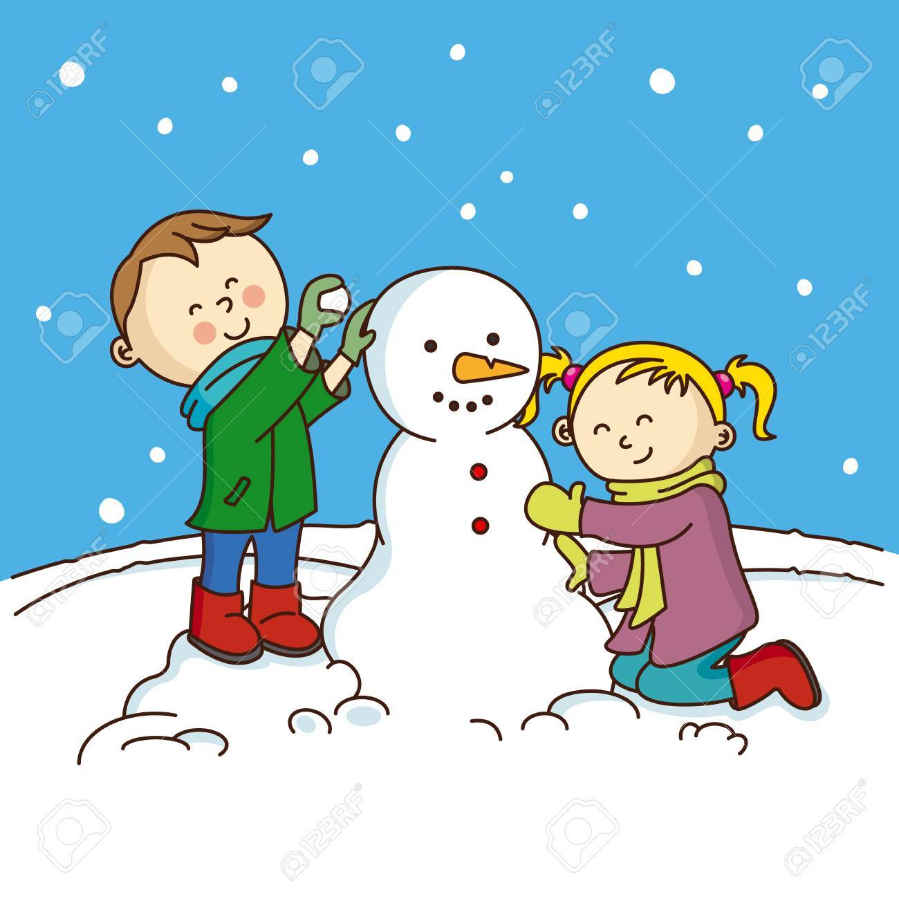Niños Haciendo Un Muñeco De Nieve Ilustraciones Vectoriales Clip Art Vectorizado Libre De Derechos Image 48595630