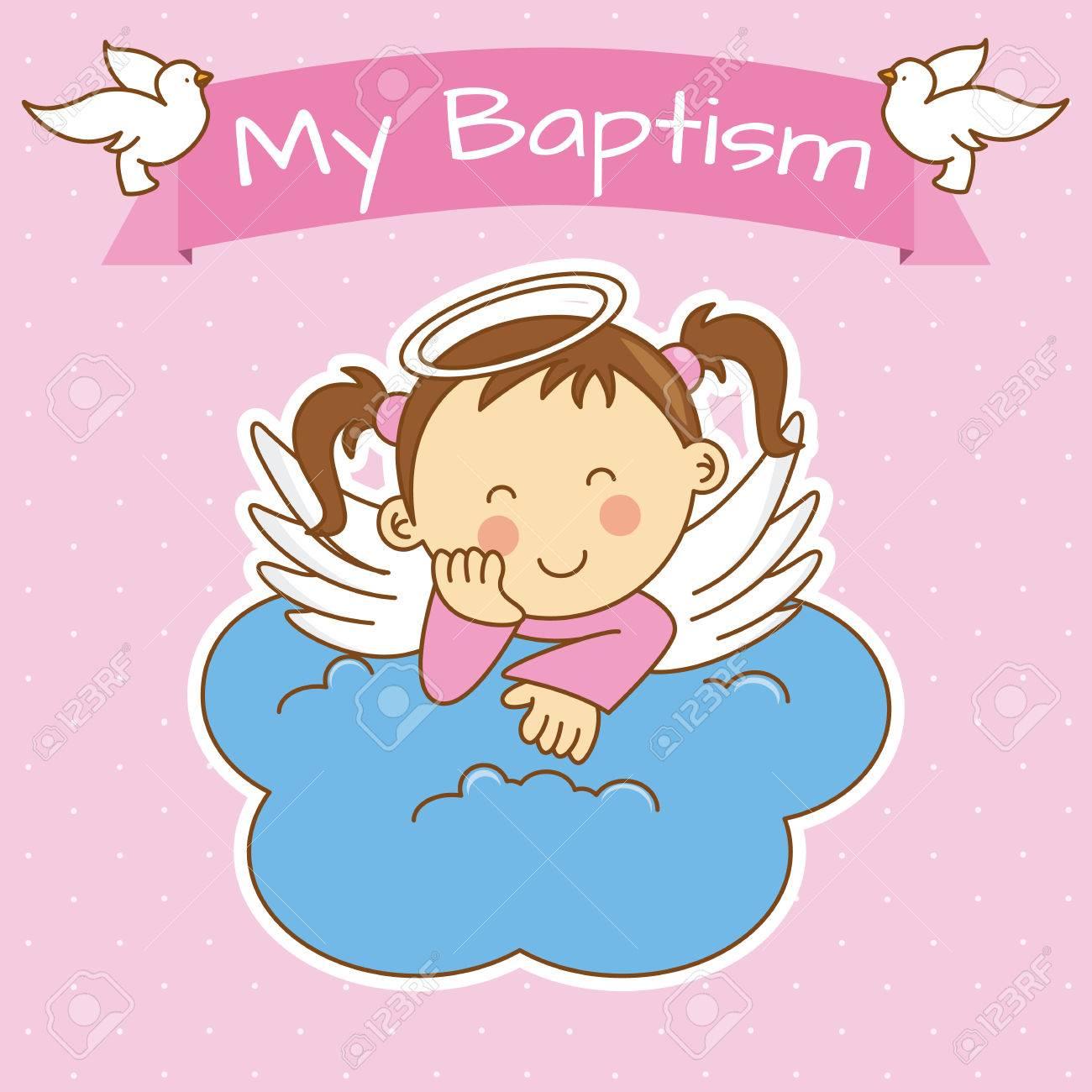 Connu Ailes D'ange Sur Un Nuage. Fille Baptême Clip Art Libres De Droits  LR98