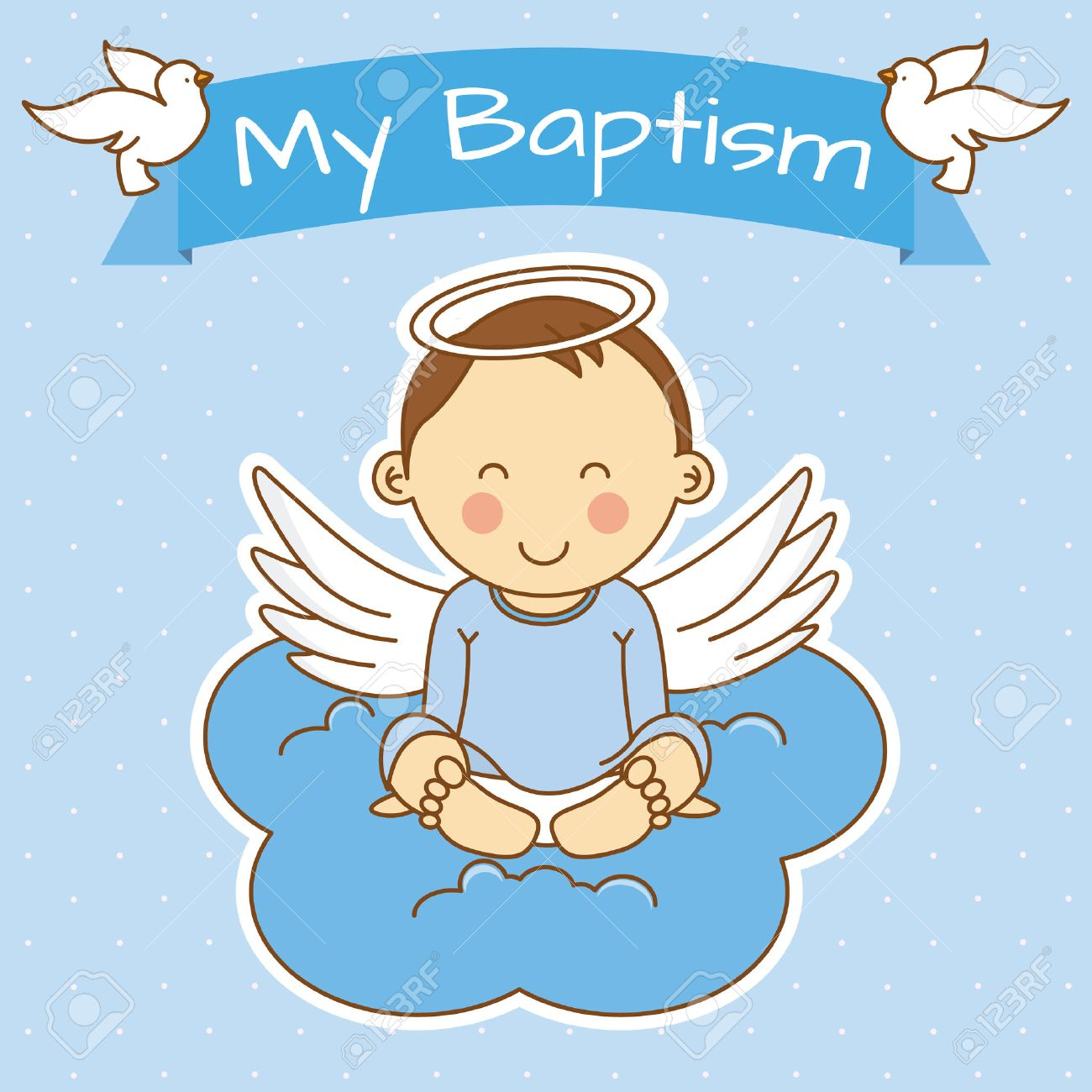 angel wings on a cloud boy baptism royalty free cliparts vectors