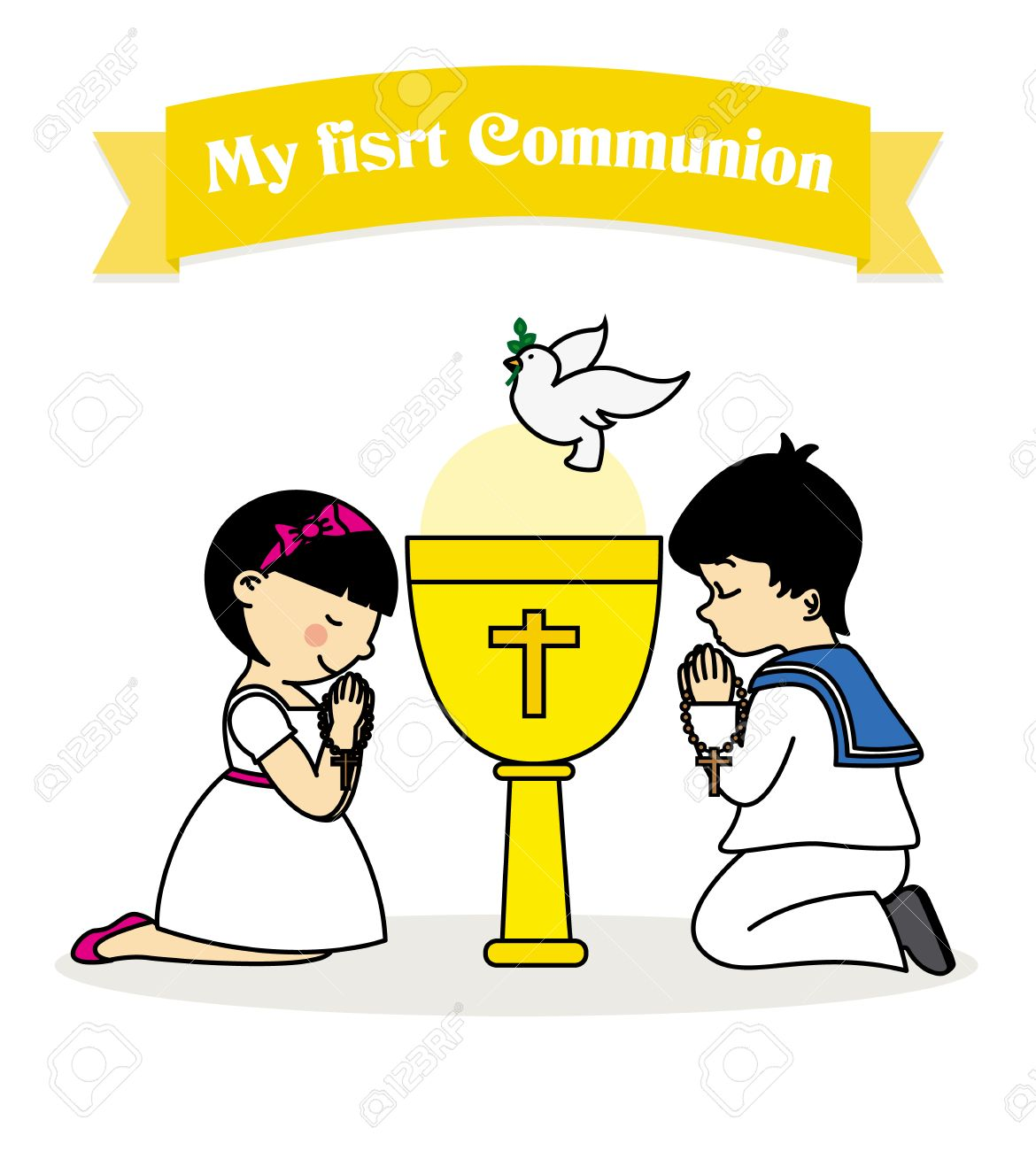 my first communion. Boy and girl praying together with a calyx - 54420959