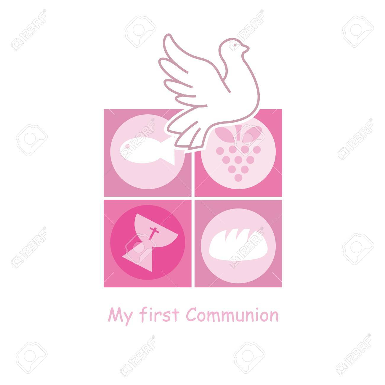 Girl First Communion Card Royalty Free Cliparts Vectors And Stock