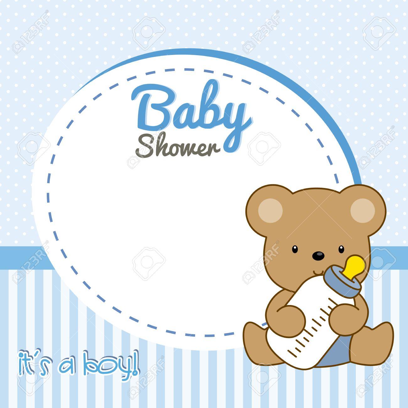 Baby-Dusche Junge. Rahmen Babybär Lizenzfrei Nutzbare Vektorgrafiken ...