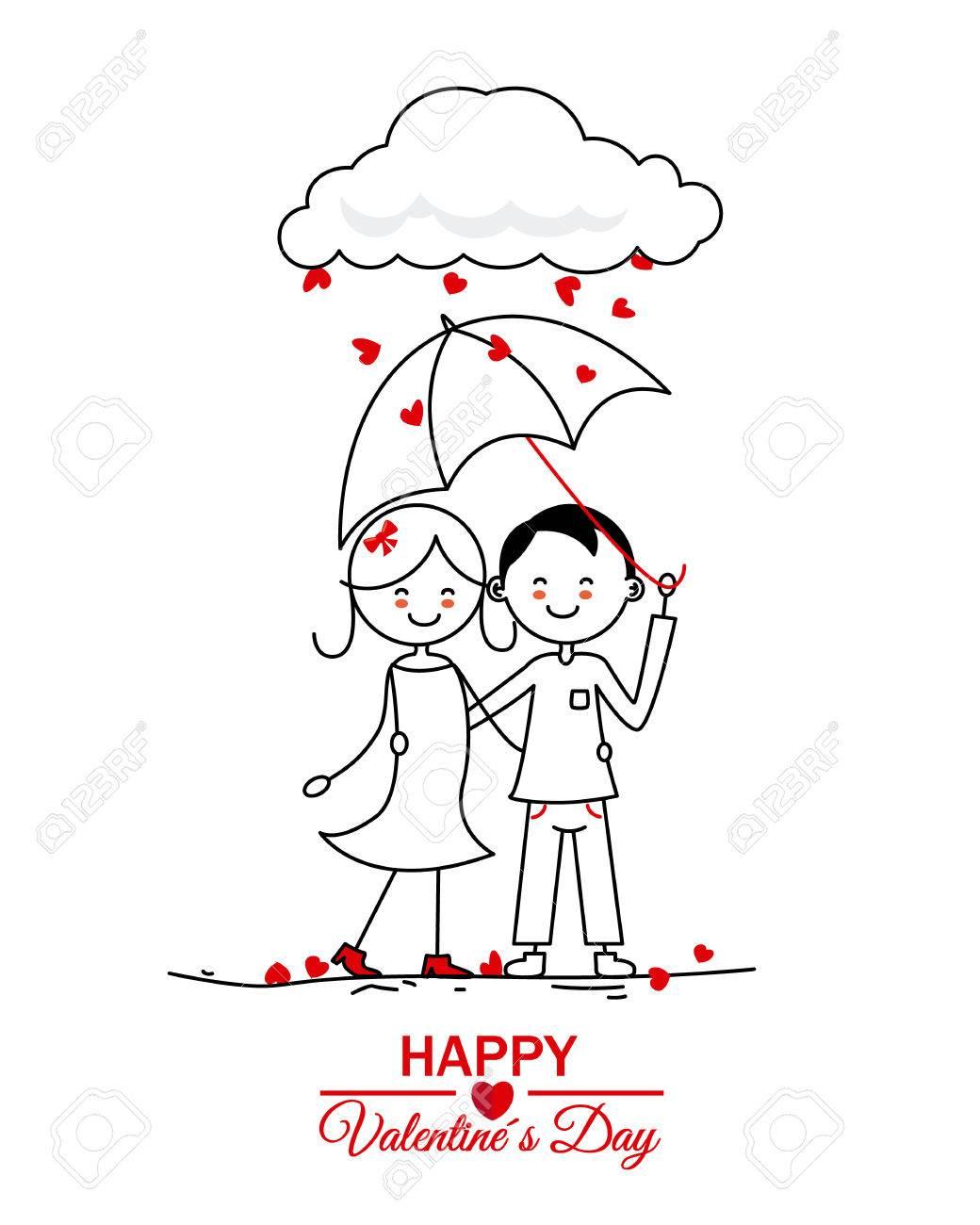 Feliz Día De San Valentín Pareja Bajo La Lluvia De Corazones