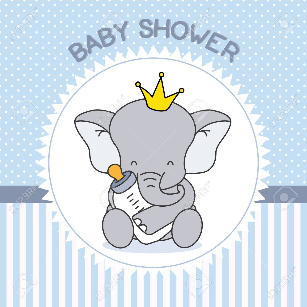 Boy Baby Shower Elephant With Baby Bottle Royalty Free Cliparts