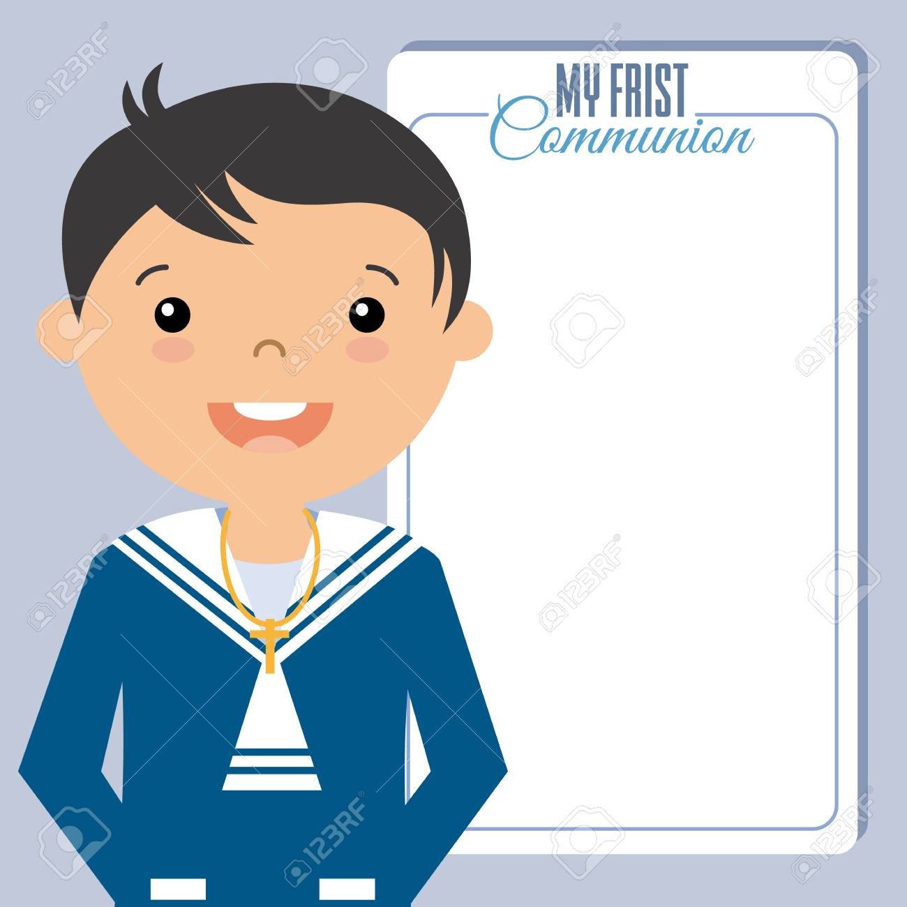 my boy first communion invitation space for text royalty free