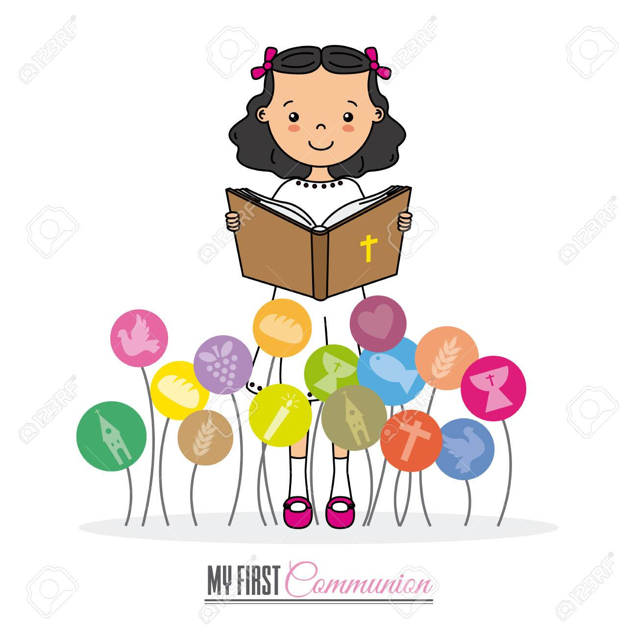 My first communion girl. Space for text Stock Vector - 80565306
