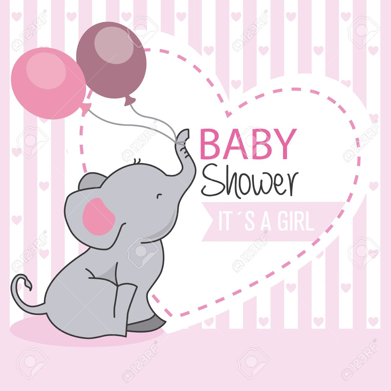 Baby Shower Girl Elephant With Balloons Royalty Free Cliparts Vectors And Stock Illustration Image 83262282
