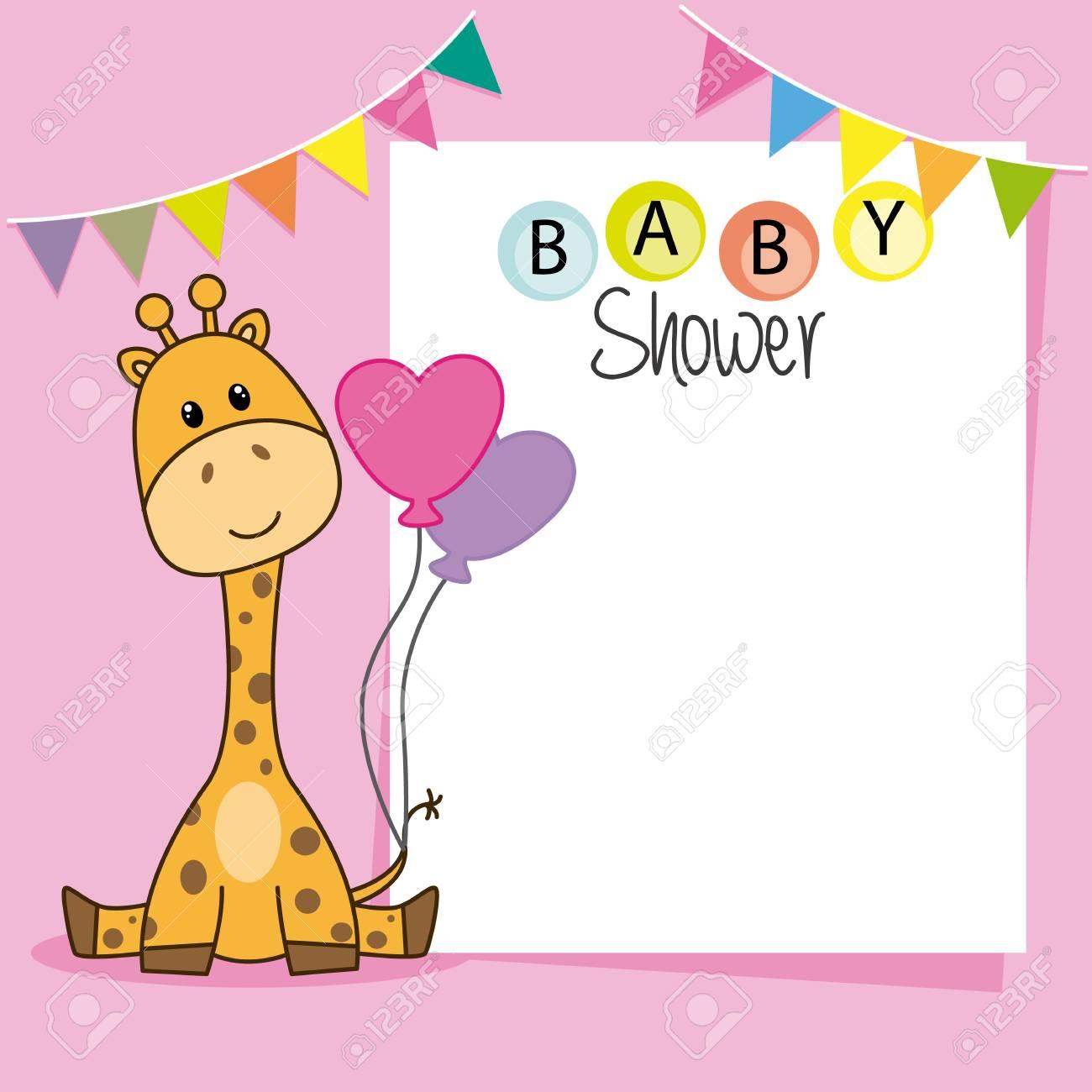Fille De Douche De Bébé Girafe Mignon Espace Pour Le Texte Ou La Photo Illustration Vectorielle