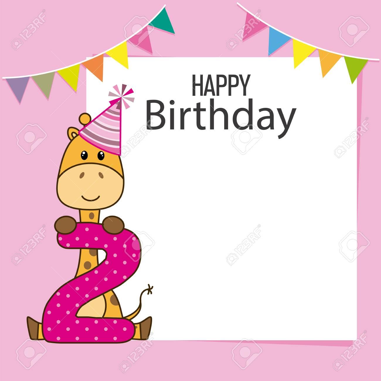 Giraffe Birthday Card Space For Text Or Photo Standard Bild