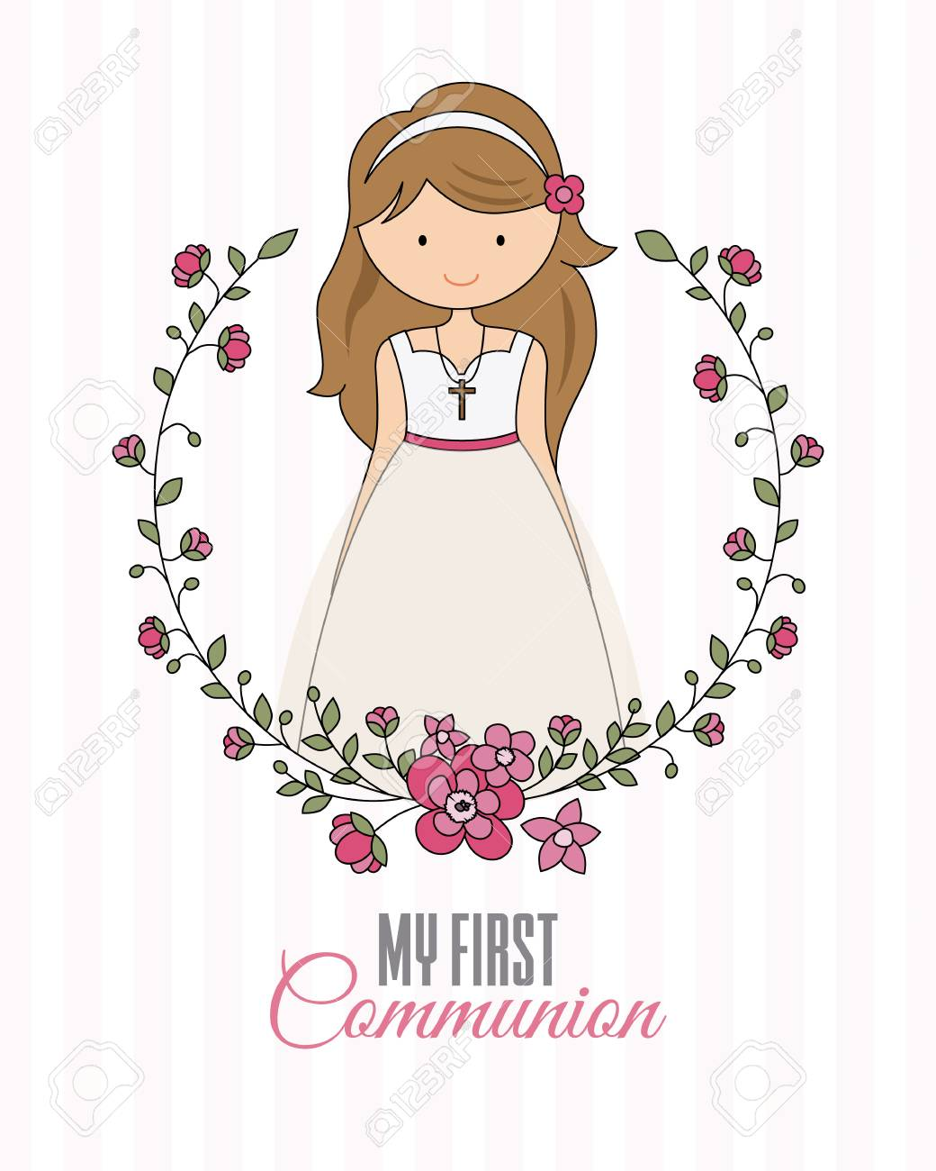 my first communion poster. beautiful girl with communion dress and flower frame - 95616249