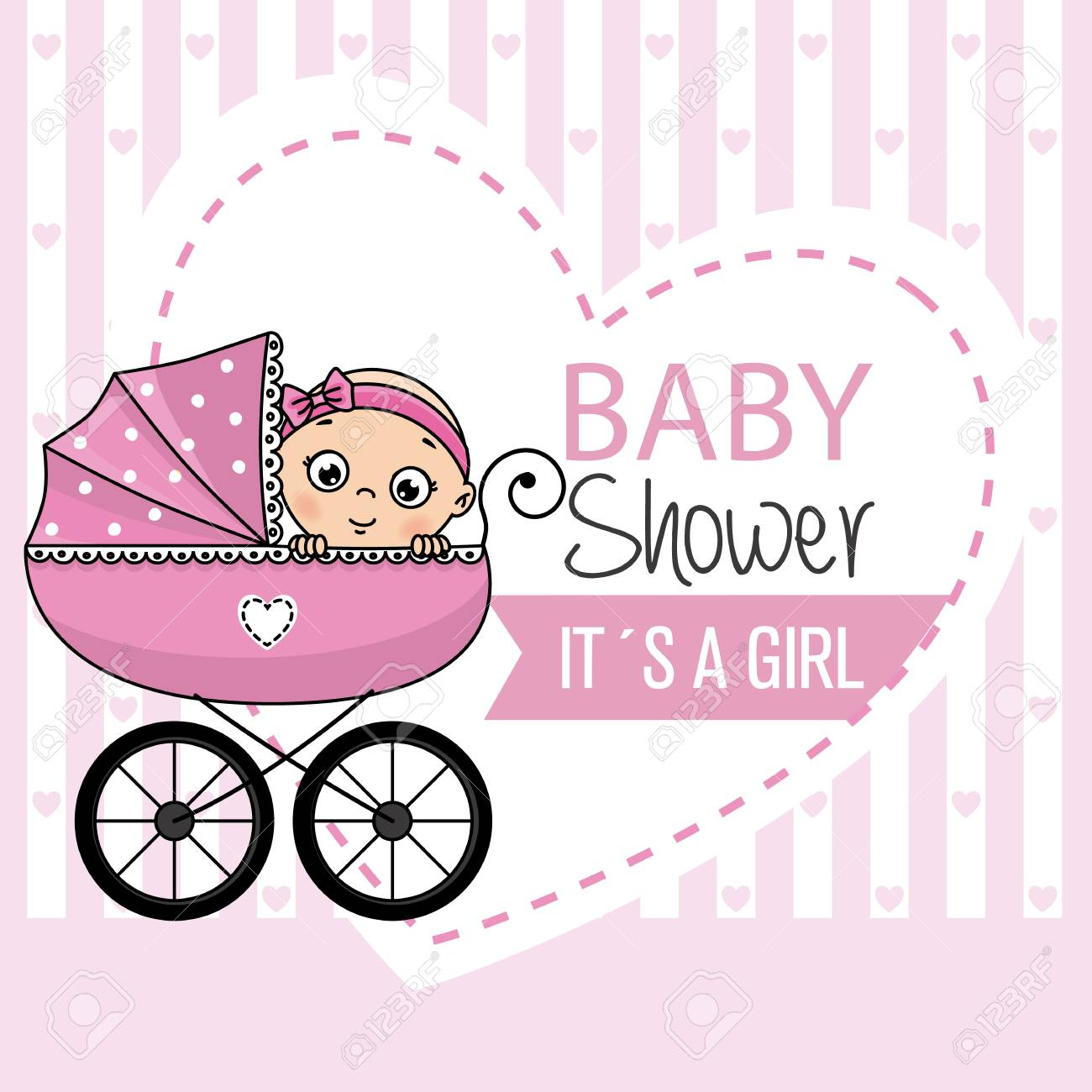 Baby Shower Banner Baby Girl Inside Baby Carriage Royalty Free