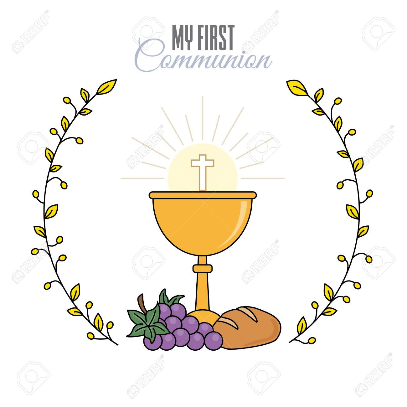 card my first communion invitation chalice with bread and grapes