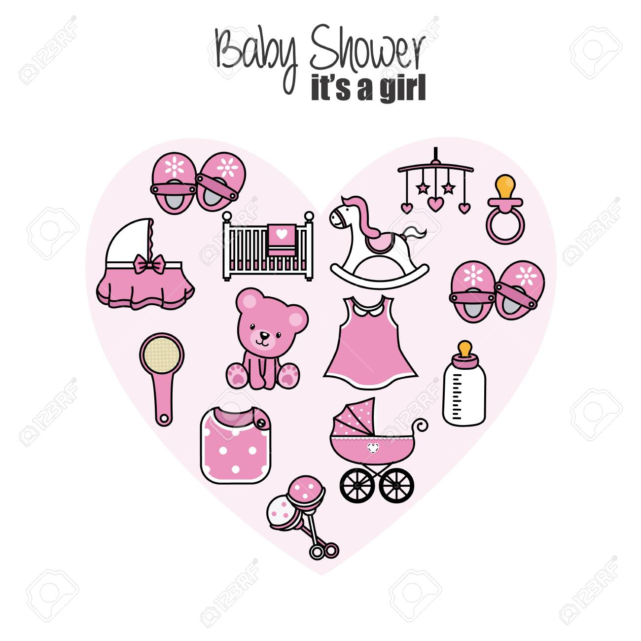 Baby Shower Card. Baby Girl Icons. Accessories, Clothes And Toys Stock  Vector