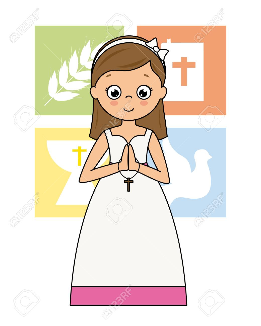 My first communion card. Praying girl with religious icons behind - 106357658