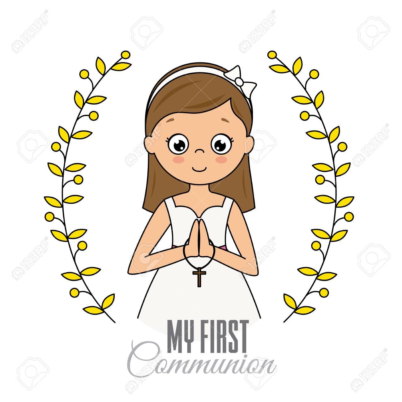 my first communion girl. Praying girl - 107989315