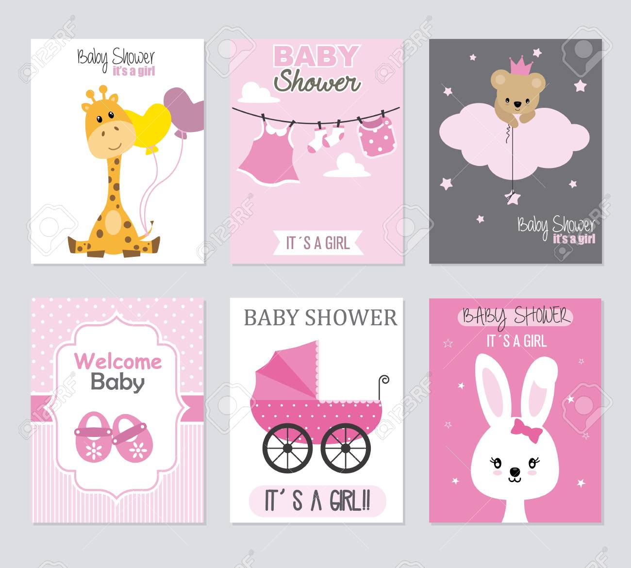 Baby Shower Invitations Set Of 6 Girl Cards