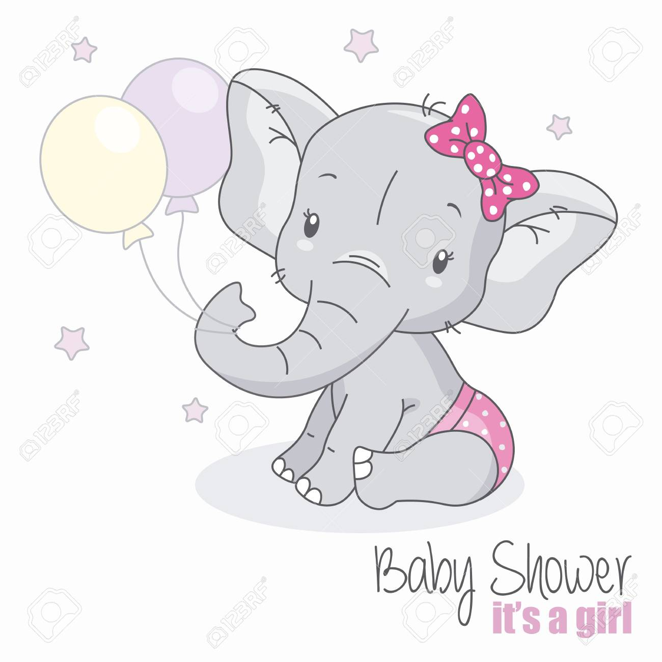 Baby Shower Girl Cute Elephant With Balloons Royalty Free Cliparts