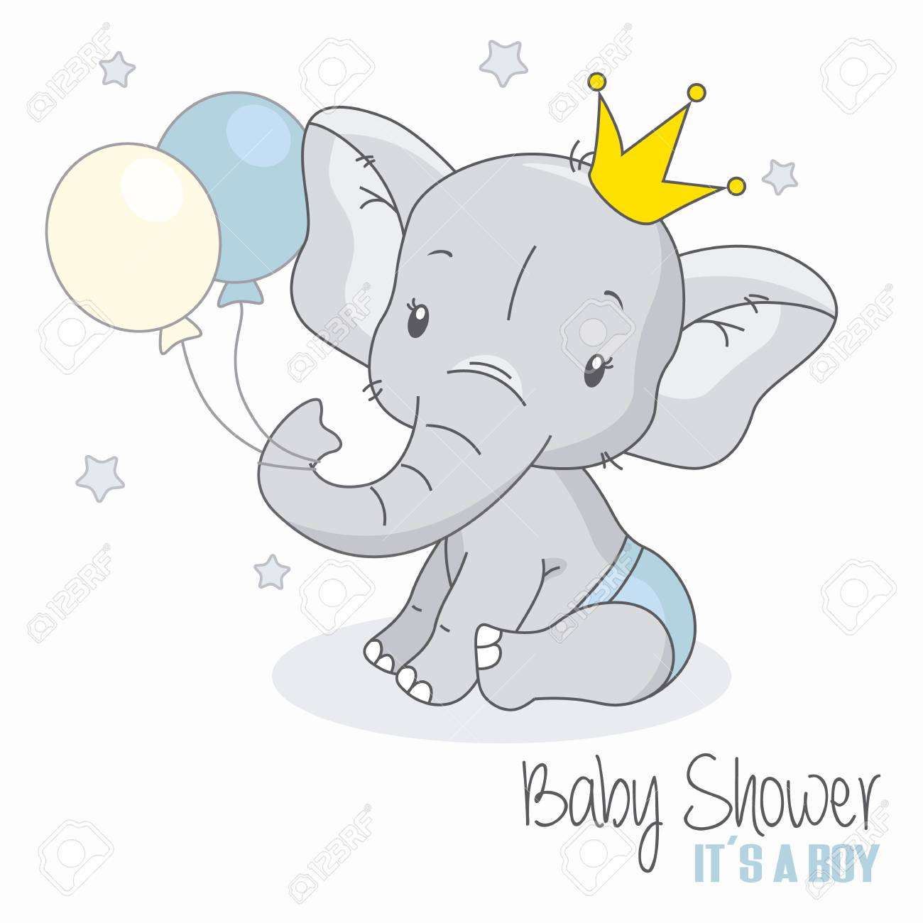 Baby Shower Boy Cute Elephant With Balloons Royalty Free Cliparts