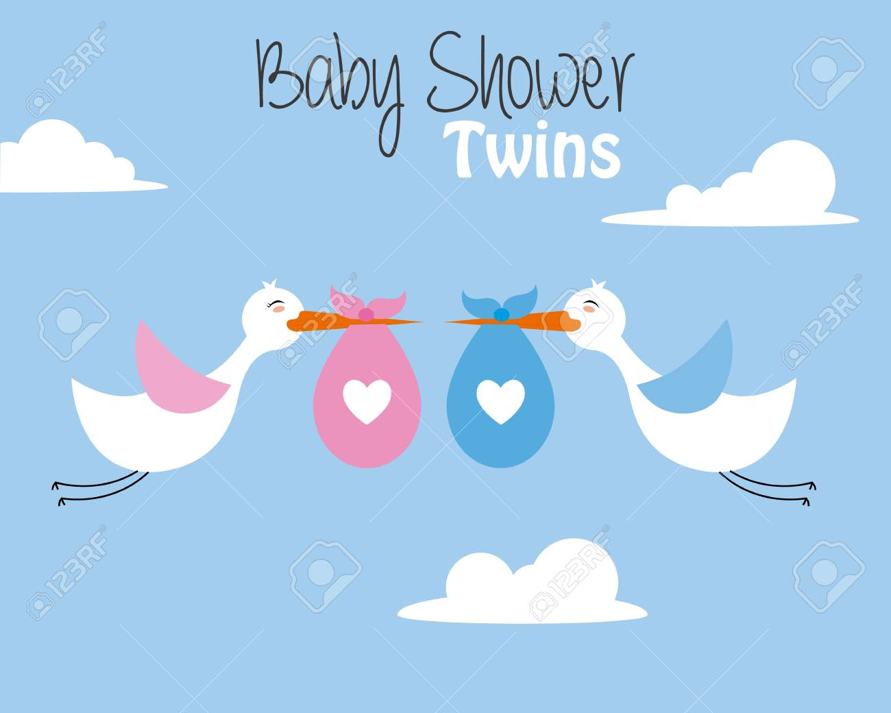 Twin Baby Shower Card Storks With Baby Girl And Boy Royalty Free Cliparts Vectors And Stock Illustration Image 111999345