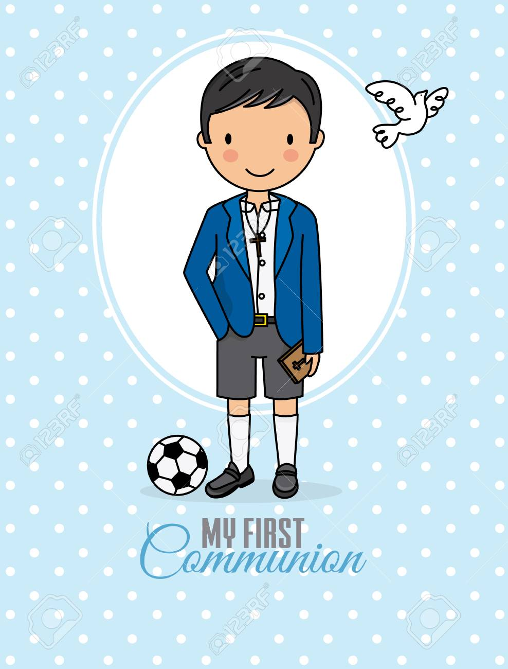 my first communion boy. Boy in communion costume and soccer ball - 112642202
