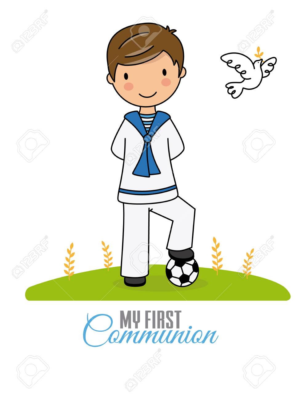 my first communion boy. Boy in communion costume and soccer ball - 112642203
