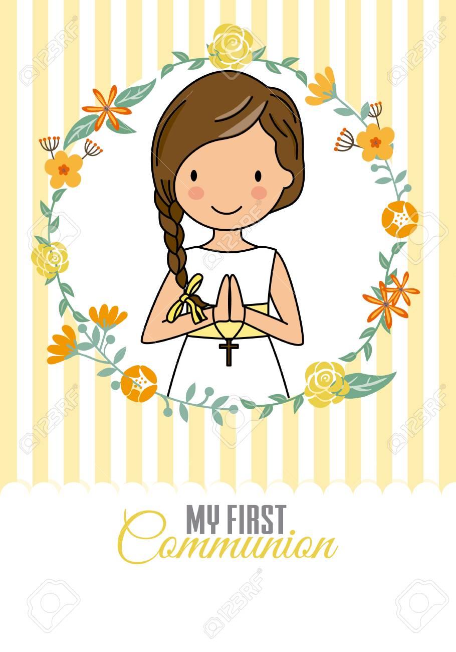 my first communion girl. Pretty girl inside a flower frame - 113494050