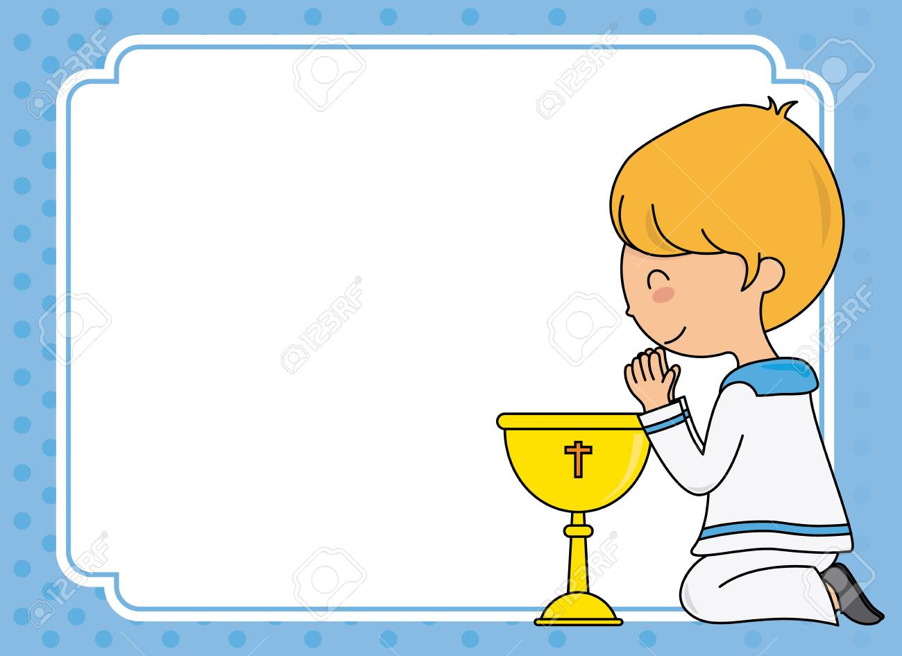 First communion card. Boy praying. Space for text - 117694418