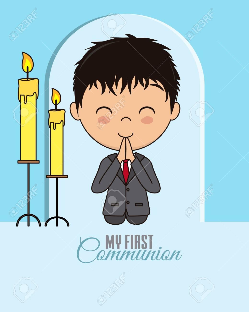First communion card. Praying boy - 122763356