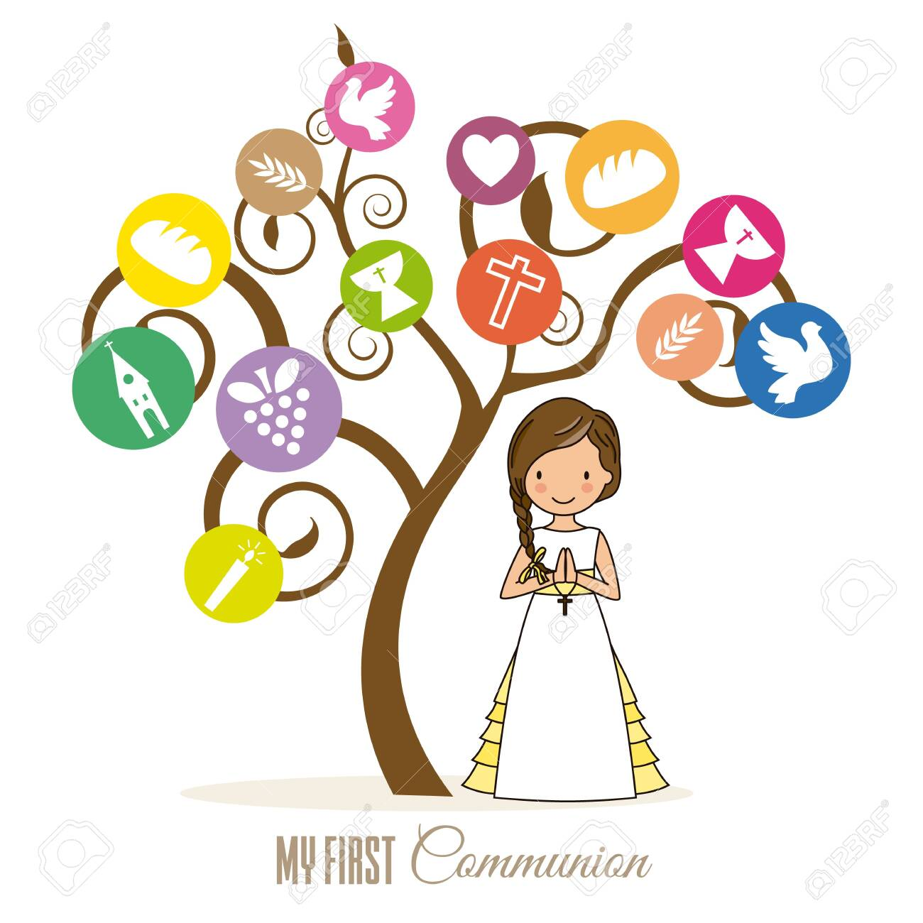 first communion card. Tree with religious icons and girl praying - 125016327