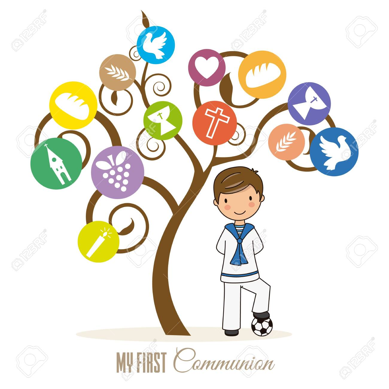 first communion card. Boy next to tree with religious icons - 125016351