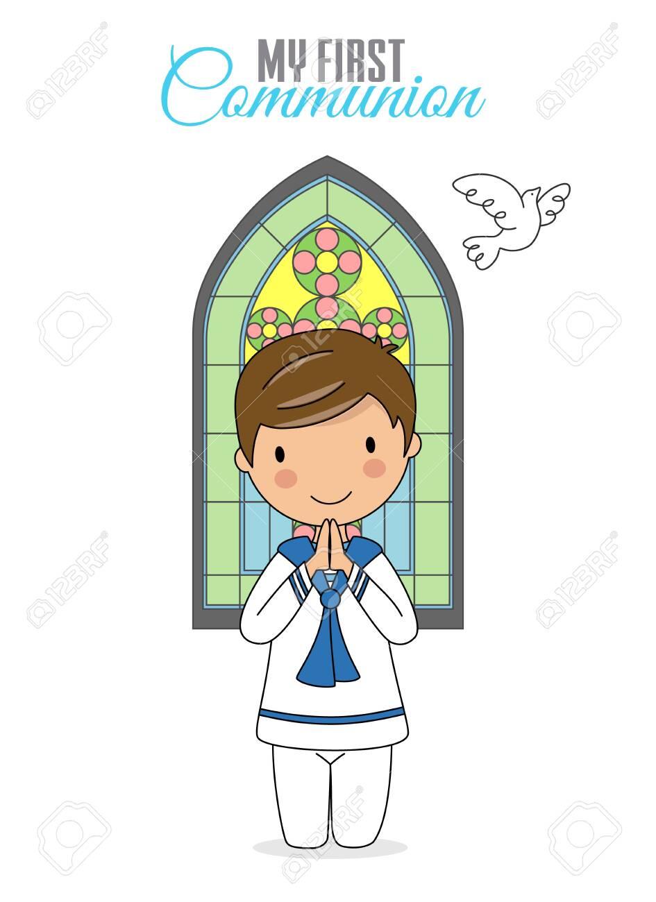Invitation my first communion. Boy praying with church window behind - 129950065