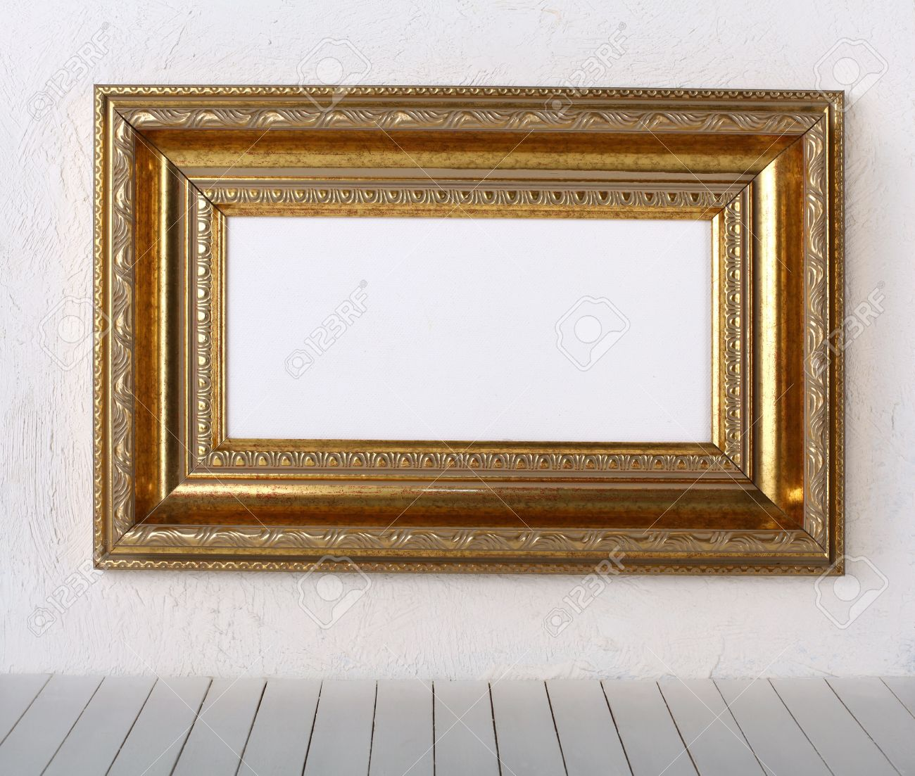 Old Frames Over The White Wall Background Stock Photo, Picture And ...