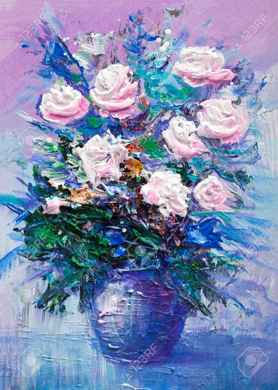 Oil Painting A Bouquet Of Flowers Impressionist Style Stock Photo