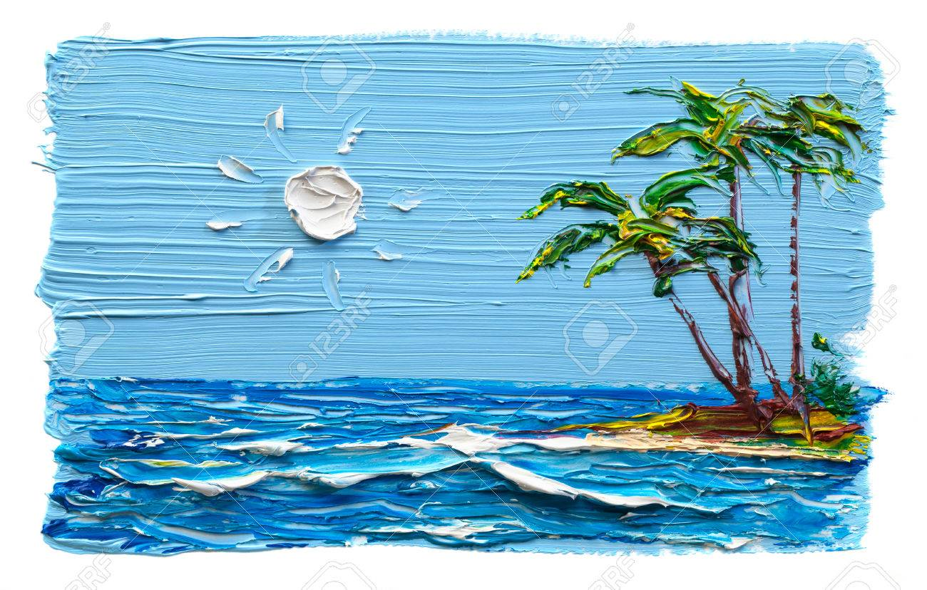 palm trees on the beach with a sandy beach painting oil paints