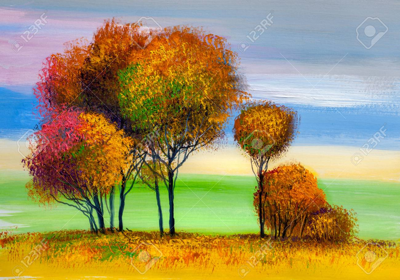 Oil painting landscape, colorful trees. Hand Painted Impressionist, outdoor landscape. - 102969860