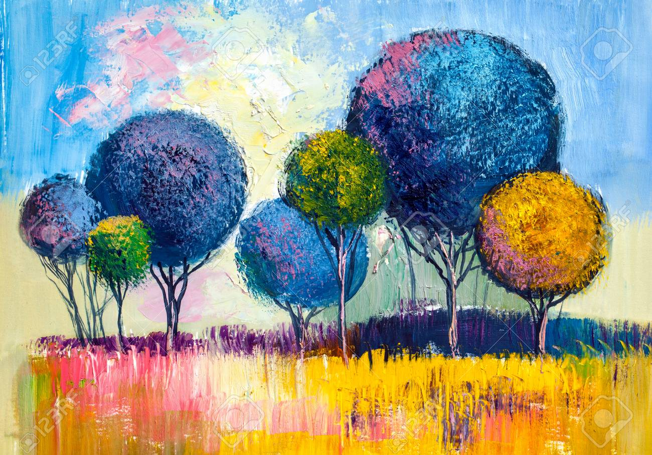 Oil painting landscape, colorful trees. Hand Painted Impressionist, outdoor landscape. - 102952461