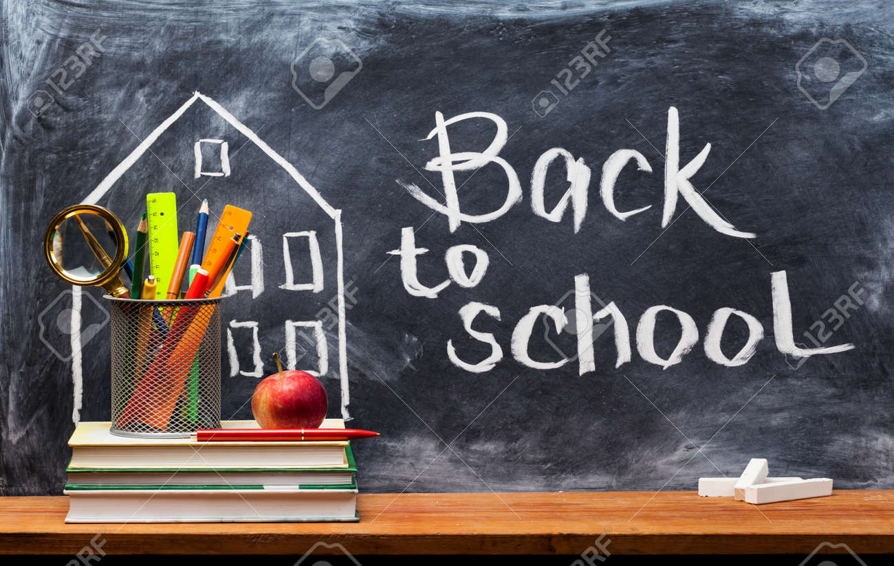 School books on desk, education concept.Text Sign Concept Back to School. - 155184513