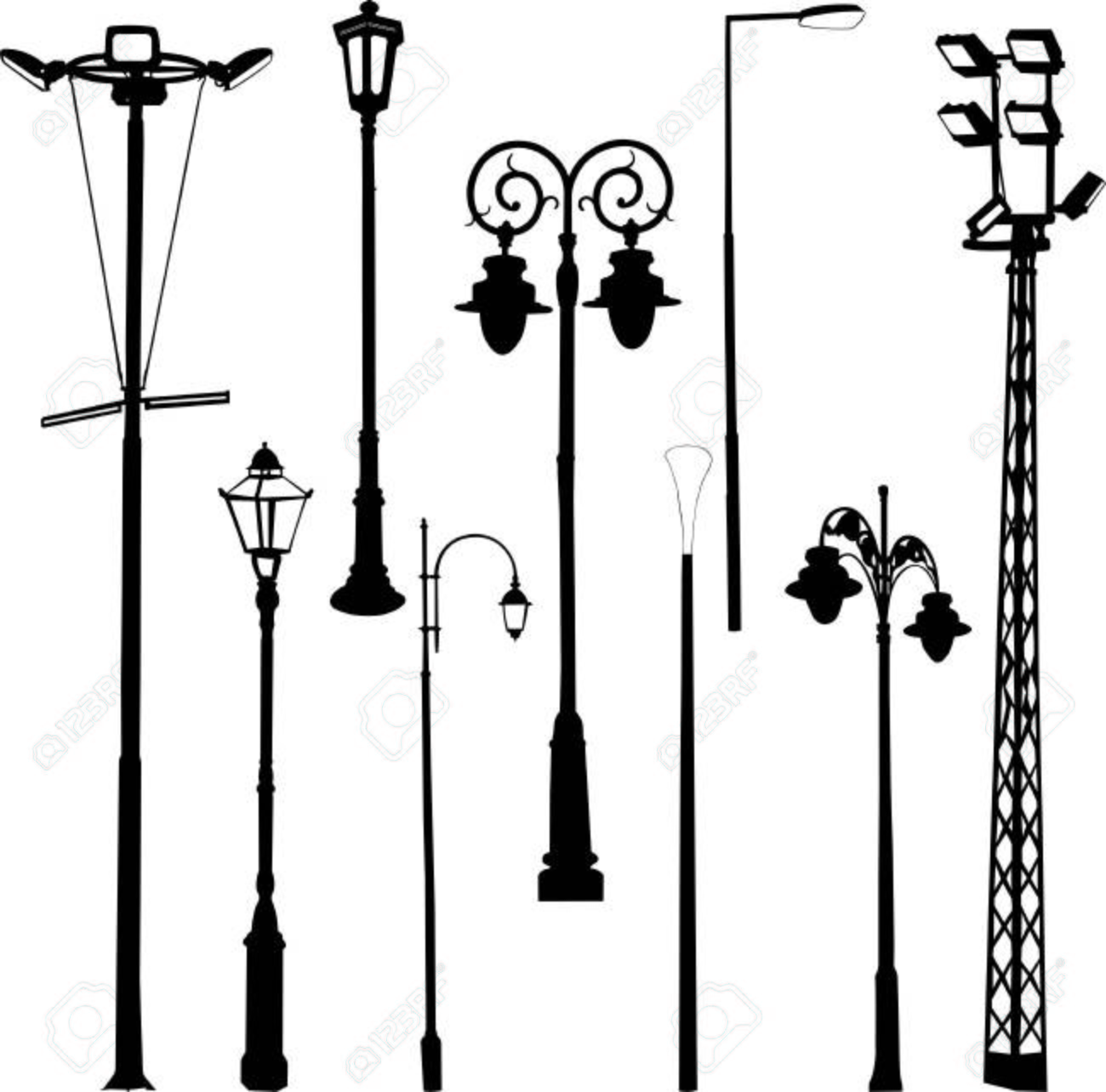Street And Garden Lamps Vector Royalty Free Cliparts Vectors And