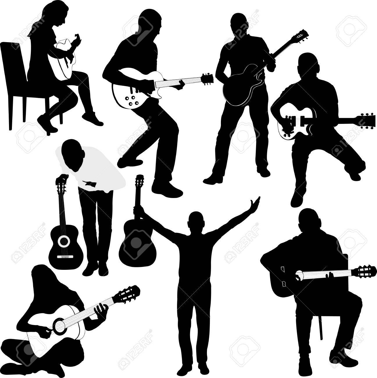 Set of Guitar Player silhouettes. Vector Image - 68998567