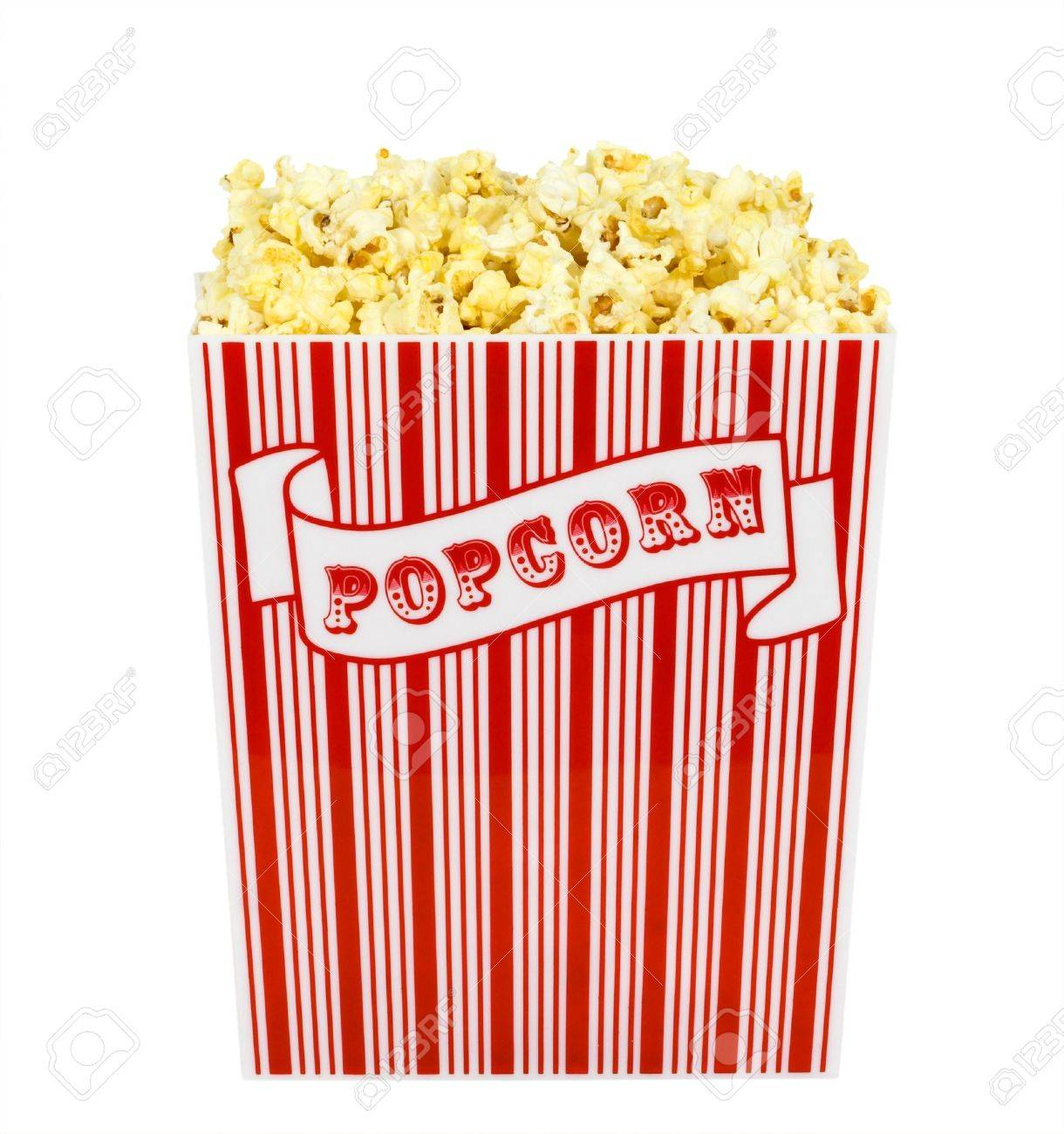 A container of popped popcorn isolated on a white background Stock Photo - 749730