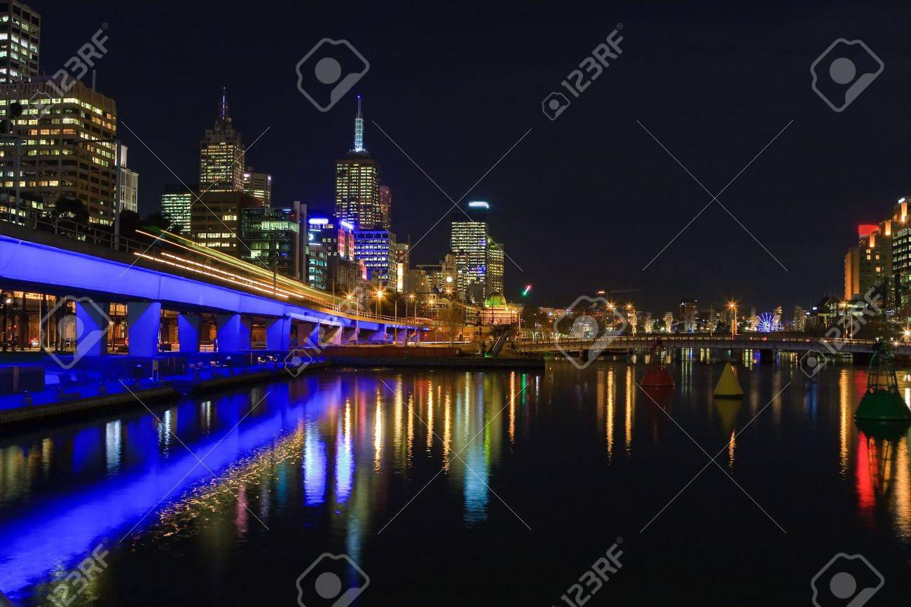 Downtown of Melbourne at night Stock Photo - 6082947