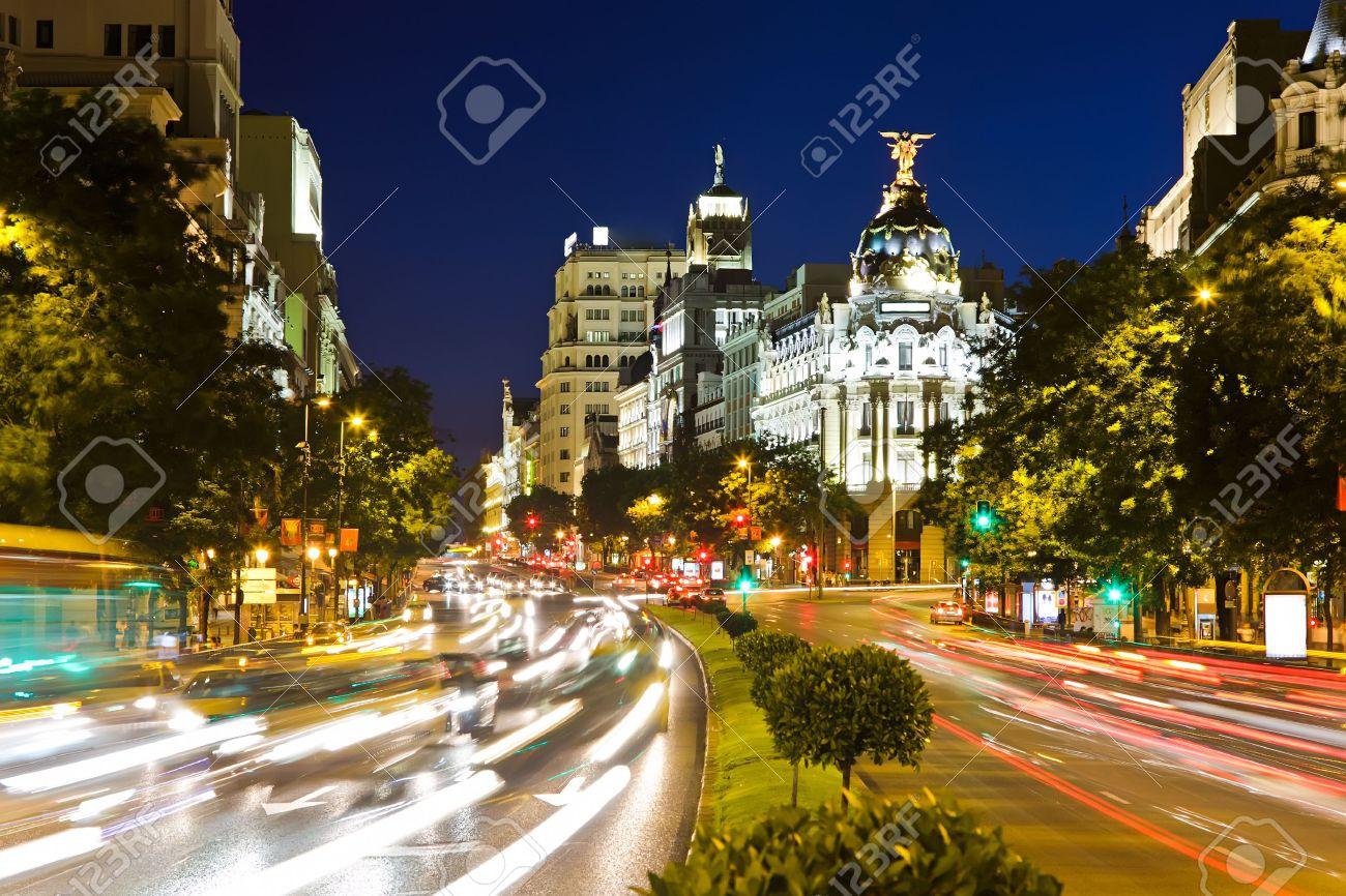 Street Traffic Street Traffic in Night Madrid