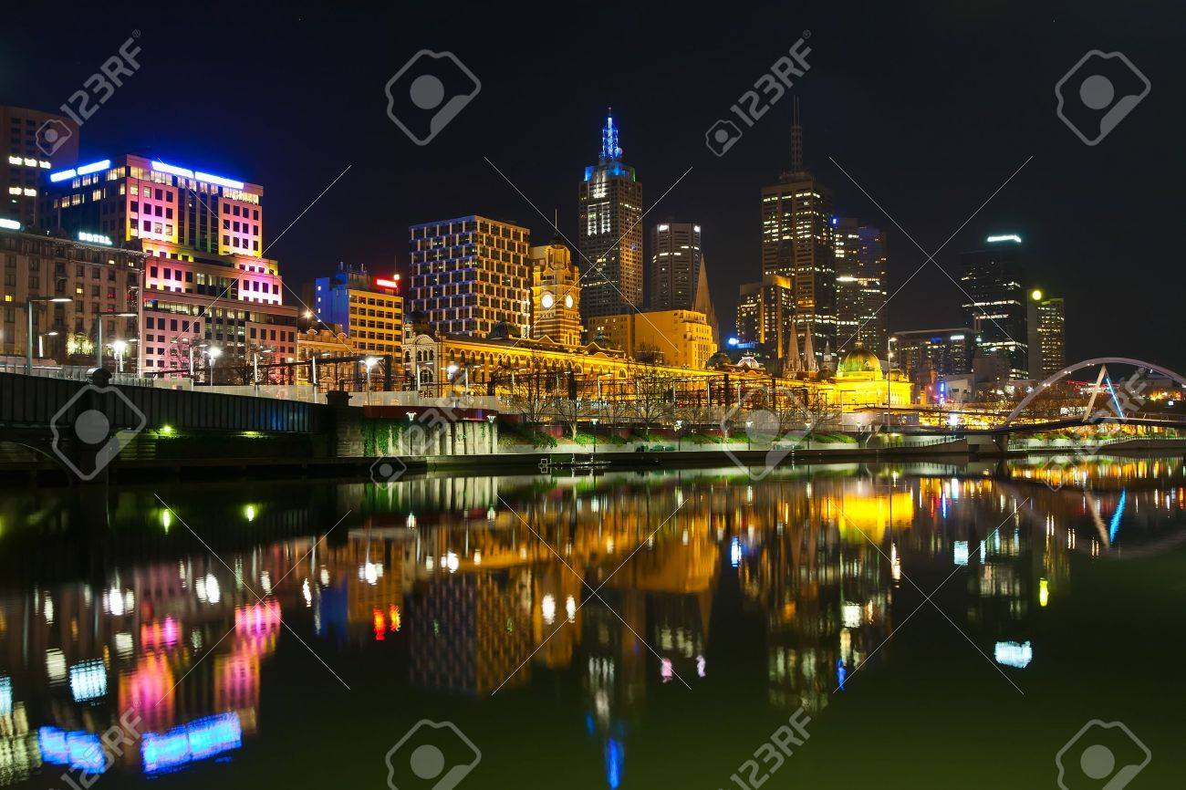 Melbourne railway station at night Stock Photo - 7315261