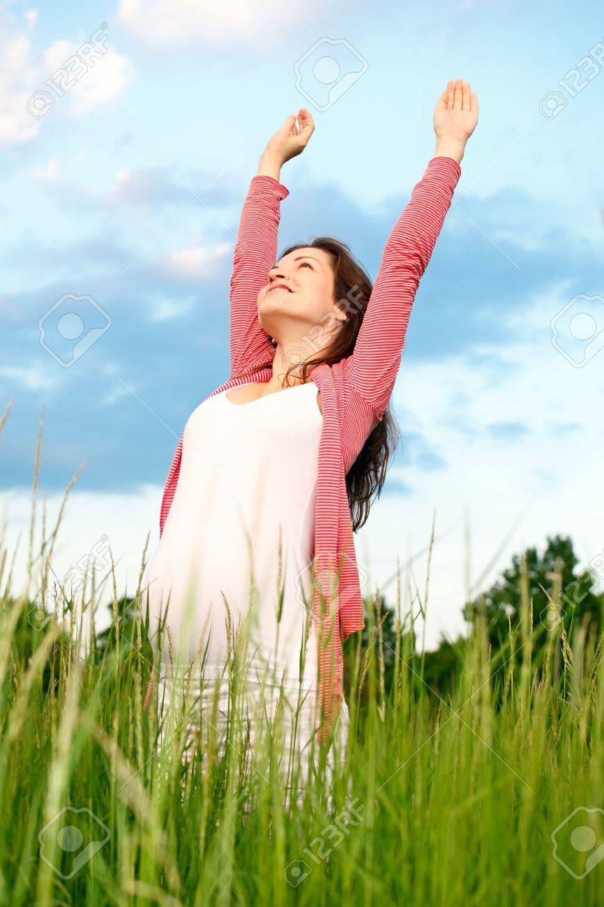 Beautiful pregnant woman on meadow Stock Photo - 7533961