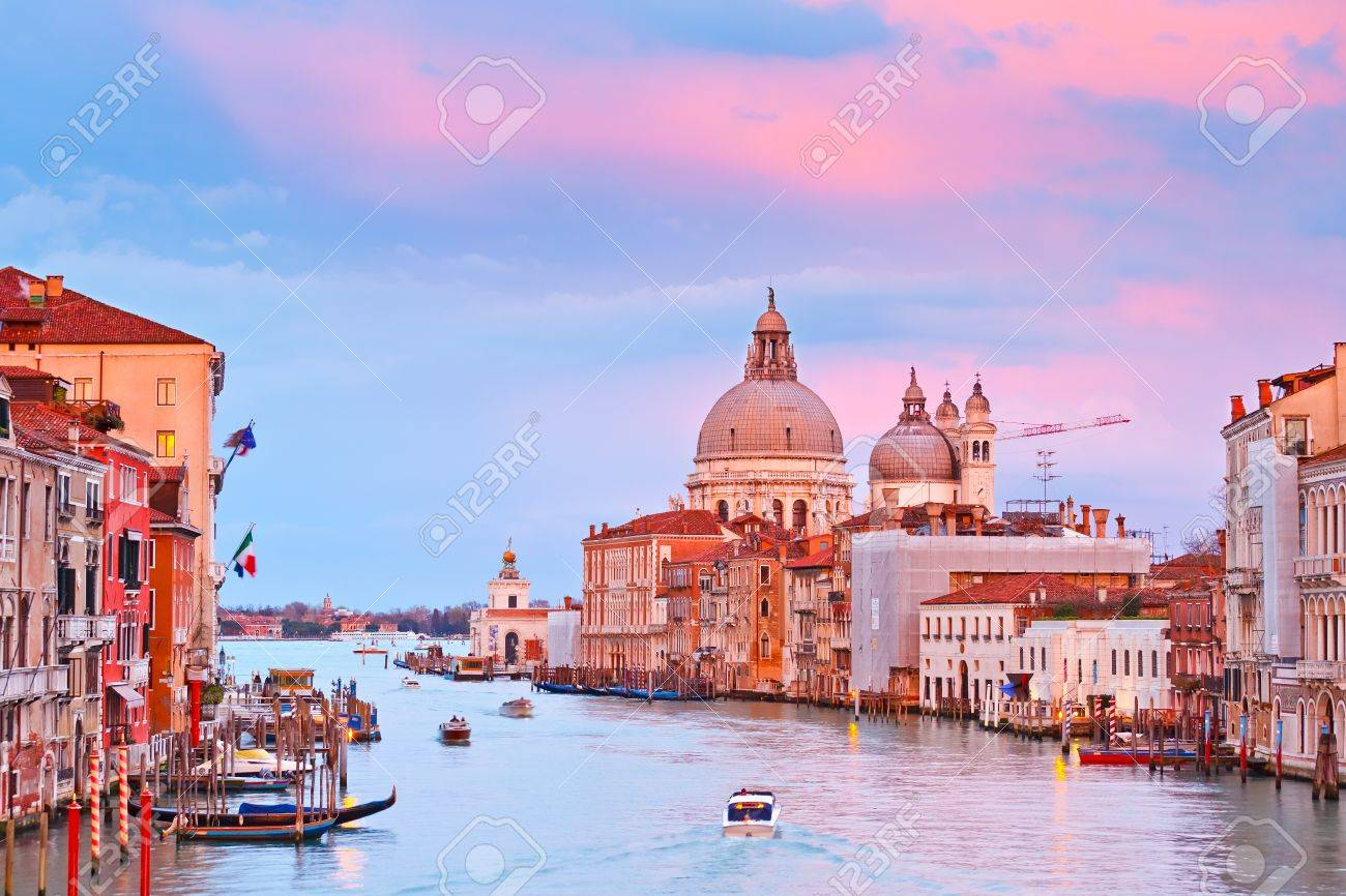 Grand canal at sunset, Venice Stock Photo - 9081019