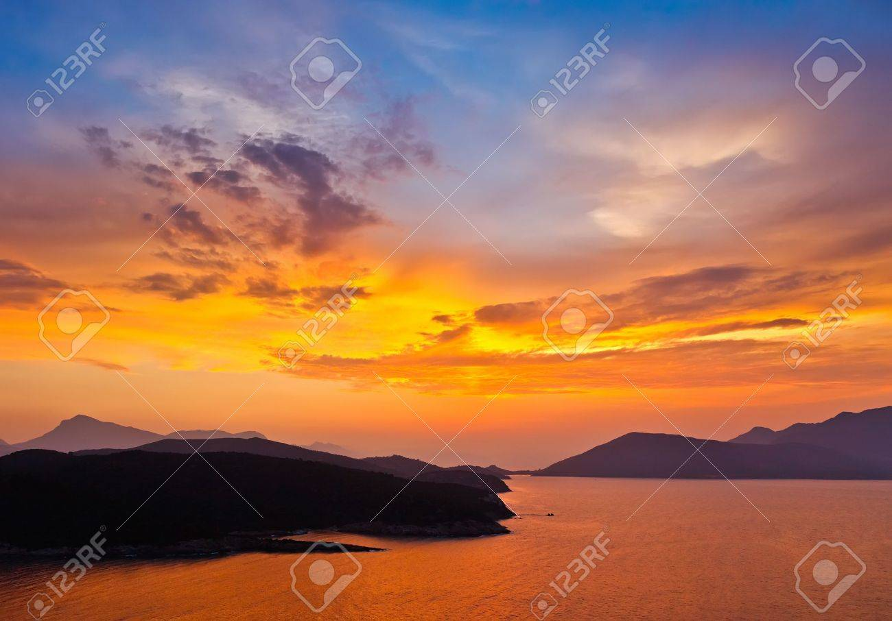 Sunset in Greece Stock Photo - 15700565