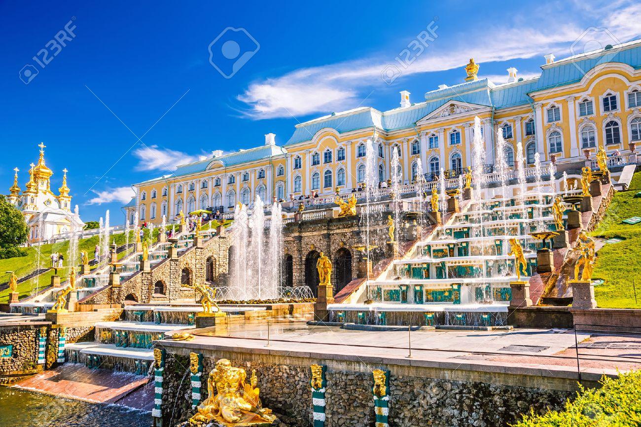 grand cascade in peterhof st petersburg russia stock photo