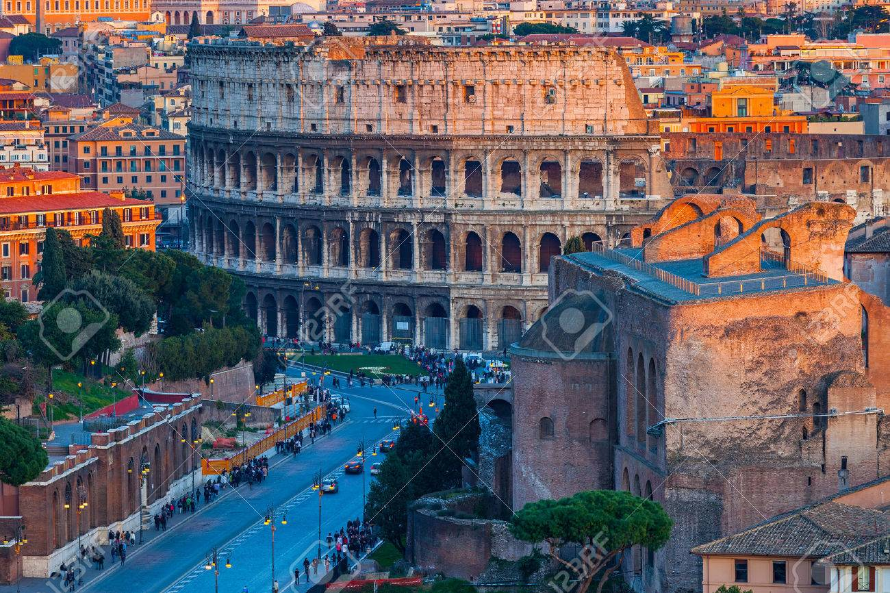 View on Colosseum in Rome, Italy - 54802117